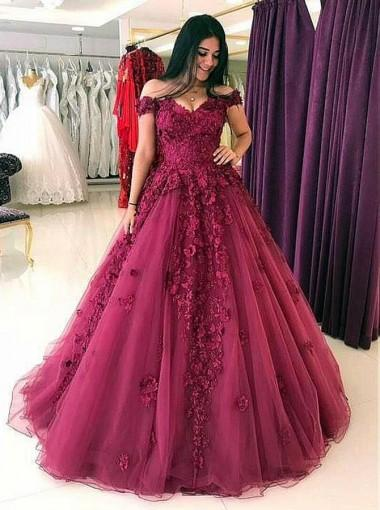 Lace Off Shoulder Maroon A-line Long Evening Prom Dresses, 17613