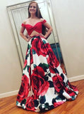 Two Pieces Off Shoulder Flower Satin A-line Long Evening Prom Dresses, 17633