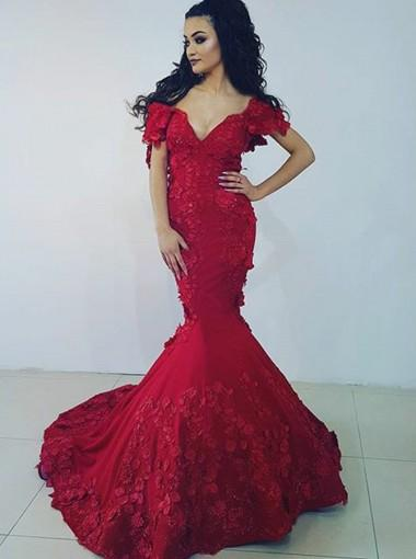 1986501765c Off Shoulder Red Lace Mermaid Short Sleeve Long Evening Prom Dresses ...