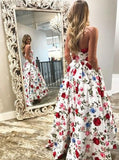 Unique Hand Made Flower A-line Long Evening Prom Dresses, 17636