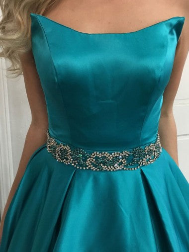 Simple Beaded Belt Turquoise A-line Long Evening Prom Dresses, 17640