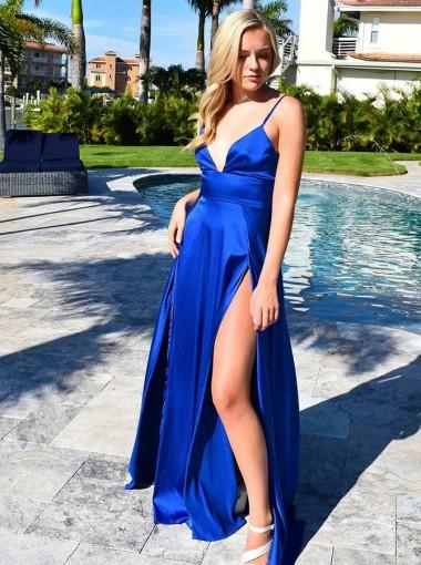 Spaghetti Straps Royal Blue Side Slit Cheap Evening Prom Dresses, Cheap Custom Sweet 16 Dresses, 18474