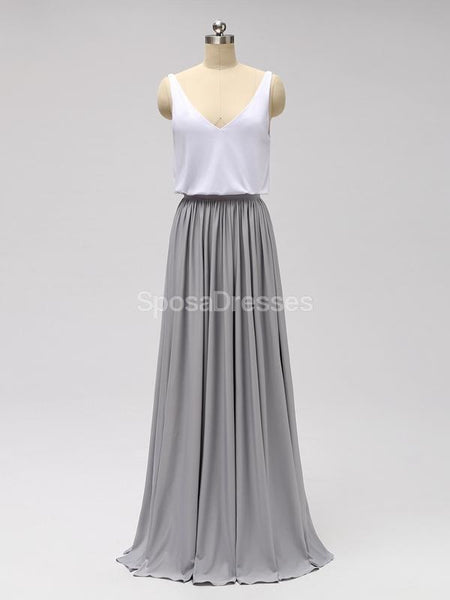 Casual Cheap Floor Length White And Grey Cheap Bridesmaid Dresses Online, WG601