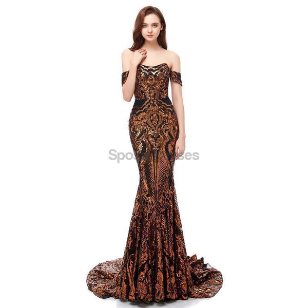 Off Shoulder Sparkly Gold Sequin Mermaid Evening Prom Dresses, Evening Party Prom Dresses, 12105