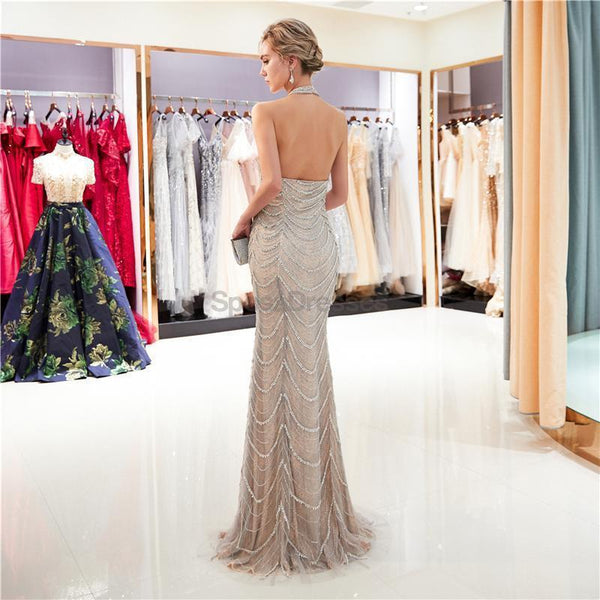 Halter Backless Heavily Beaded Mermaid Evening Prom Dresses, Evening Party Prom Dresses, 12032