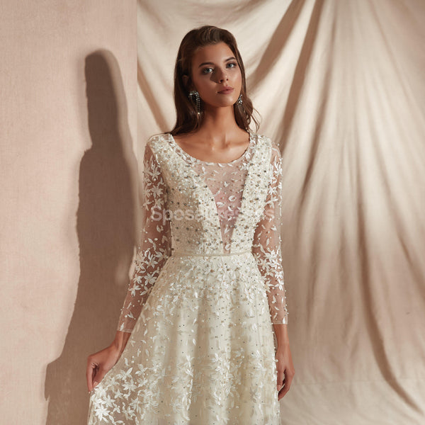 Long Sleeves Lace Cheap Wedding Dresses Online, Cheap Unique Bridal Dresses, WD578