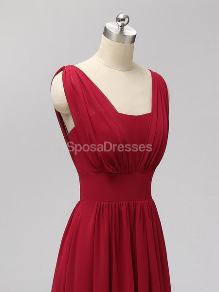 Red Two Straps Chiffon Backless Long Cheap Bridesmaid Dresses Online, WG560