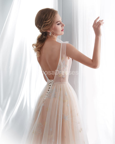 Sexy Backless See Through Lace A-line Cheap Wedding Dresses Online, Unique Bridal Dresses, WD574