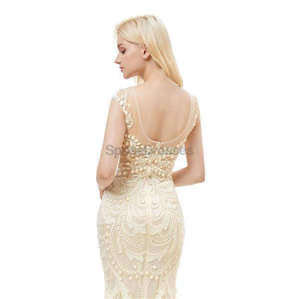 Off White Seen Through Scoop Lace Beaded Mermaid Evening Prom Dresses, Evening Party Prom Dresses, 12048