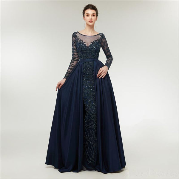Long Sleeves Heavily Beaded Cheap Long Evening Prom Dresses, Evening Party Prom Dresses, 12004