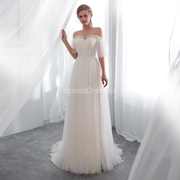 Simple Sweetheart See Through Lace A-line Cheap Wedding Dresses Online, Unique Bridal Dresses, WD577
