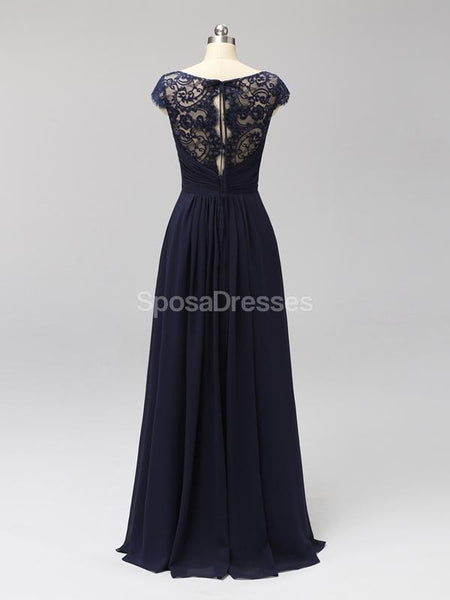 Cap Sleeves Floor Length Lace V Neck Cheap Bridesmaid Dresses Online, WG591