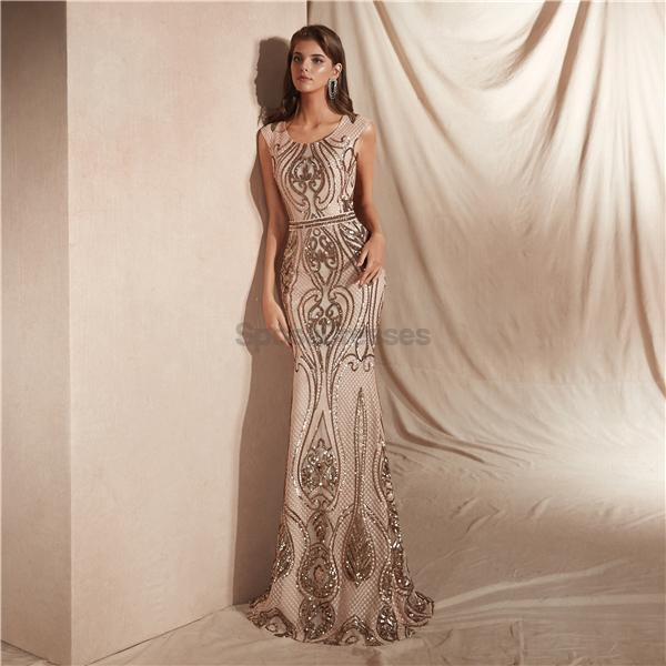 Scoop Grey Sparkly Sequin Mermaid Evening Prom Dresses, Evening Party Prom Dresses, 12063