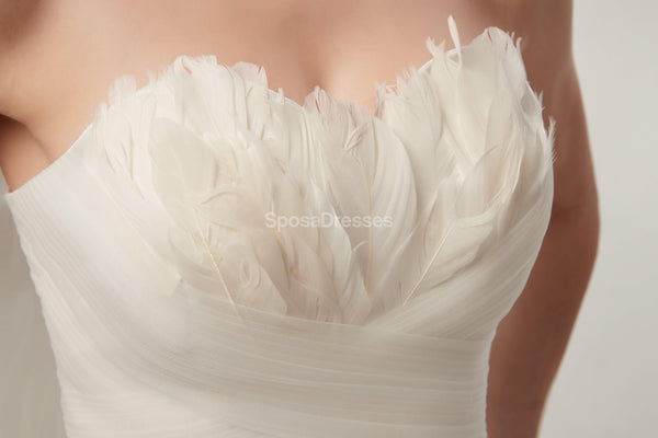 Sweetheart Feather Simple A-line Cheap Wedding Dresses Online, Cheap Bridal Dresses, WD563