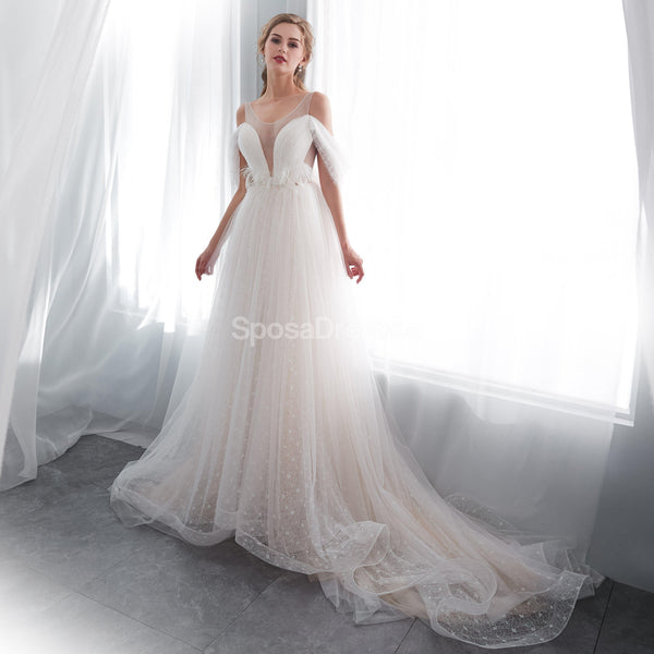 Off Shoulder Simple A-line Scoop Cheap Wedding Dresses Online, Cheap Bridal Dresses, WD573