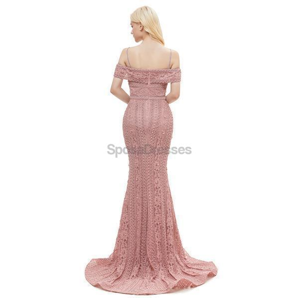 Off Shoulder Dusty Pink Lace Mermaid Evening Prom Dresses, Evening Party Prom Dresses, 12049