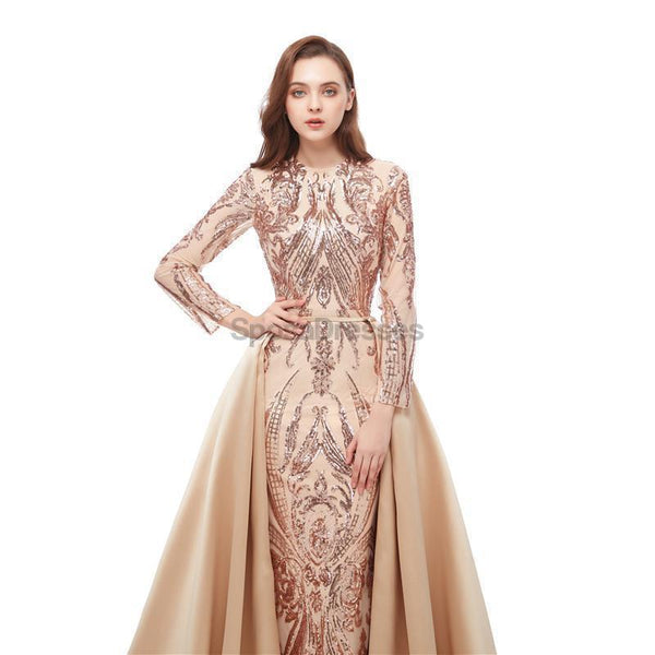 Long Sleeves Detachable Sparkly Sequin Evening Prom Dresses, Evening Party Prom Dresses, 12106