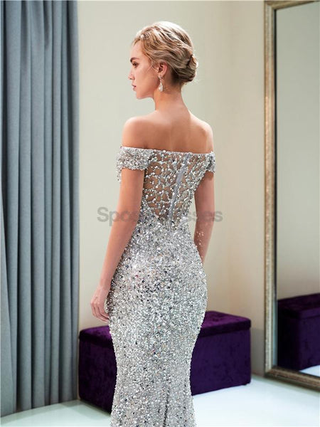 Off Shoulder Sparkly Heavily Beaded Mermaid Evening Prom Dresses, Evening Party Prom Dresses, 12034