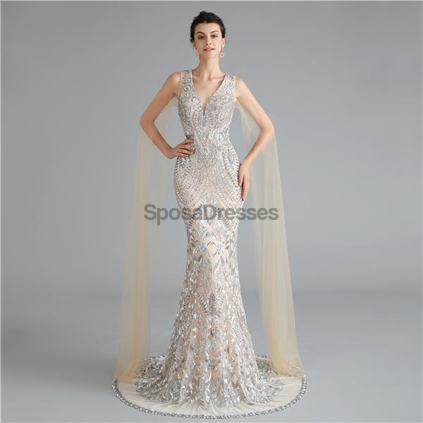 V Neck Unique Sleeves Mermaid Sequin Evening Prom Dresses, Evening Party Prom Dresses, 12118