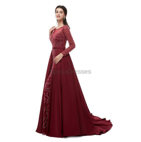 Long Sleeves Dark Red Heavily Beaded Evening Prom Dresses, Evening Party Prom Dresses, 12100