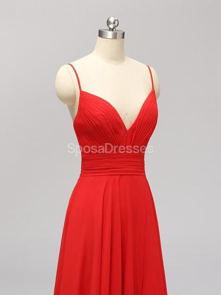 Side Slit Spaghetti Straps Red Chiffon Long Cheap Bridesmaid Dresses Online, WG592