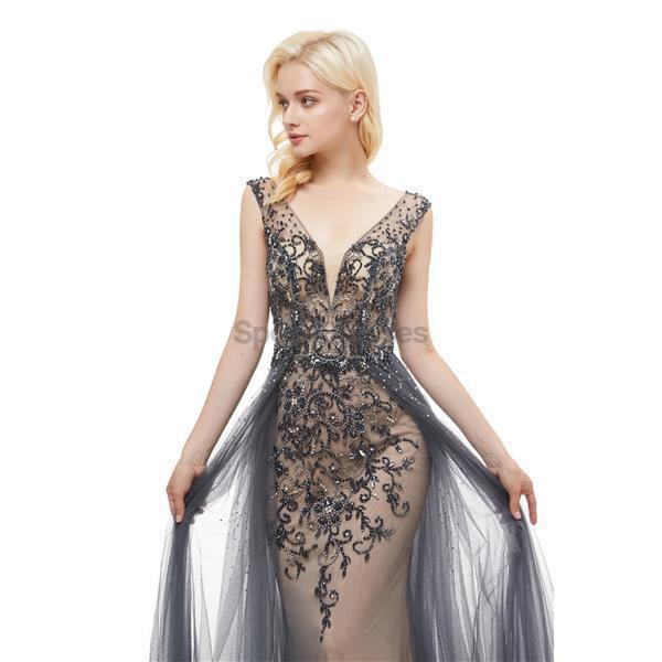 Grey V Neck Open Back Beaded A-line Evening Prom Dresses, Evening Party Prom Dresses, 12050