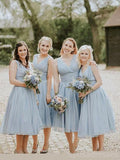 Dusty Blue V Neck Chiffon Short Cheap Bridesmaid Dresses Online, WG346