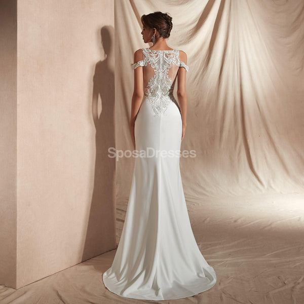 Lace Straps Mermaid Cheap Wedding Dresses Online, Cheap Unique Bridal Dresses, WD581