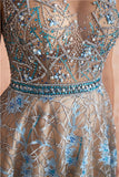 Cap Sleeves See Through Beaded A-line Long Evening Prom Dresses, Evening Party Prom Dresses, 12137