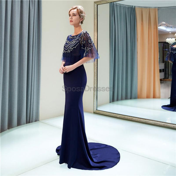 Scoop Navy Beaded 1/2 Long Sleeves Mermaid Evening Prom Dresses, Evening Party Prom Dresses, 12029