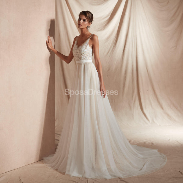 V Neck Lace A-line Cheap Wedding Dresses Online, Unique Bridal Dresses, WD580