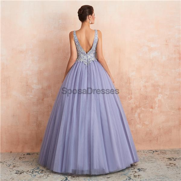 V Neck Lilac Lace Beaded A-line Long Evening Prom Dresses, Evening Party Prom Dresses, 12133