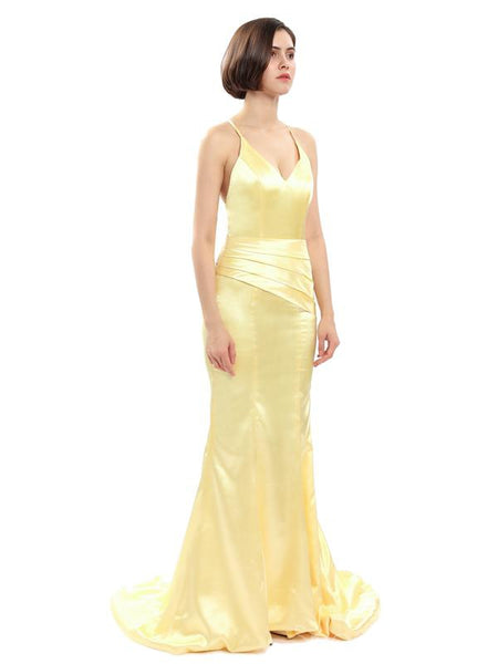 Sexy Backless Gold Mermaid Cheap Long Evening Prom Dresses, Cheap Sweet 16 Dresses, 18327