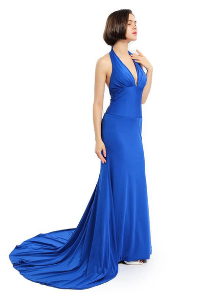 Sexy Backless Royal Blue Mermaid Long Evening Prom Dresses, Cheap Custom Sweet 16 Dresses, 18549