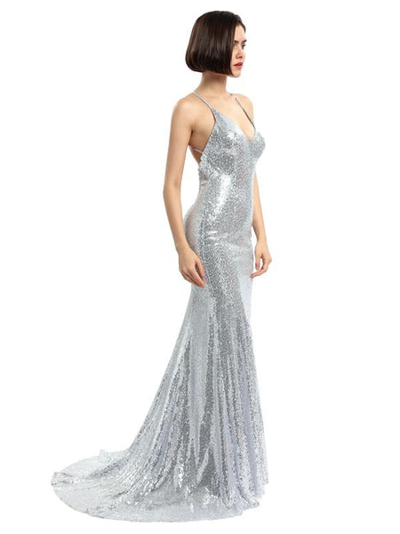 Sexy Backless Sparkly Mermaid Sequin Evening Prom Dresses, Party Prom Dresses, 17148