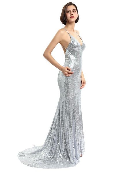 Spaghetti Straps Silver Mermaid Long Evening Prom Dresses, Evening Party Prom Dresses, 12214