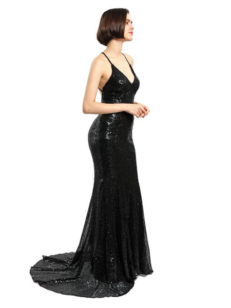 Black Sequin Mermaid Evening Prom Dresses, Sparkly Sexy Backless Party Prom Dress, Custom Long Prom Dresses, Cheap Formal Prom Dresses, 17083