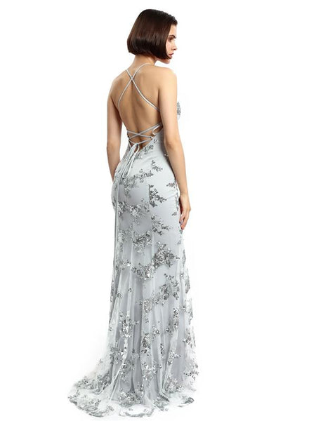 Sexy Backless Gray Sequin Lace Mermaid Long Evening Prom Dresses, Cheap Prom Dresses,17264