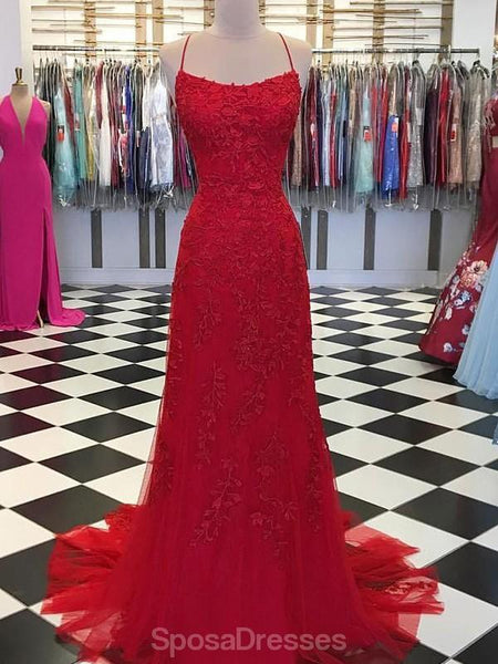 Sexy Red Lace Mermaid Long Evening Prom Dresses, Evening Party Prom Dresses, 12318