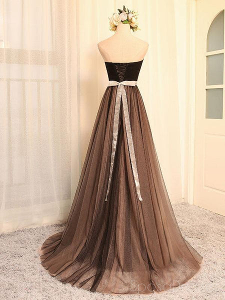 Strapless Sweetheart Beaded Belt A line Brown Long Evening Prom Dresses, Popular Cheap Long 2018 Party Prom Dresses, 17259