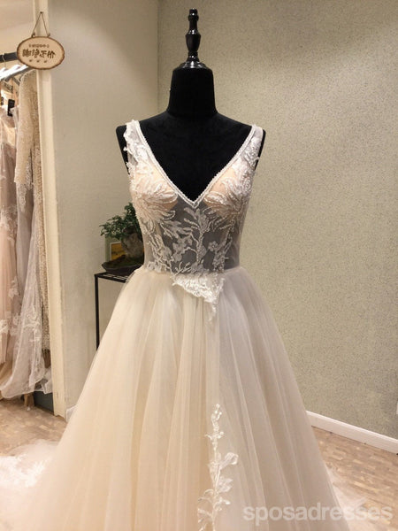 Sexy Backless V Neckline See Through Lace Wedding Bridal Dresses, Custom Made Wedding Dresses, Affordable Wedding Bridal Gowns, WD243