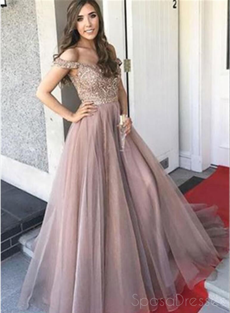Off Shoulder Sweetheart Neck A line Beaded Long Custom Evening Prom Dresses, 17406