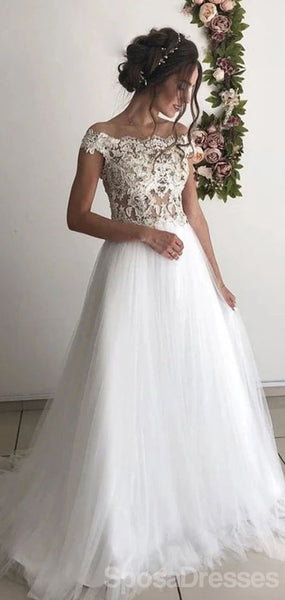 Off The Shoulder Lace A-line Wedding Dresses, Cheap Wedding Gown, WD706