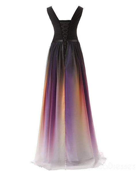 Chiffon Ombre V Neck Long Evening Prom Dresses, Custom Cheap Sweet 16 Dresses, 18391