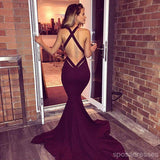 Sexy Mermaid Maroon Backless Evening Prom Dresses, Long Deep V Neckline Party Prom Dress, 17118