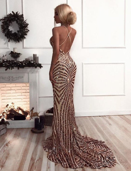 Sequin Mermaid Rose Gold Lace Long Evening Prom Dresses, Sparkly Party Prom Dresses, 18611
