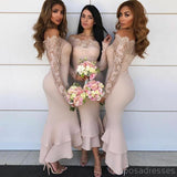 Off Shoulder Cheap Mermaid Long Bridesmaid Dresses With Lace Long Sleeve, WG201