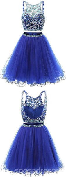 Sexy Two Pieces Royal Blue Beaded Tulle Homecoming Prom Dresses, Affordable Short Party Prom Sweet 16 Dresses, Perfect Homecoming Cocktail Dresses, CM352