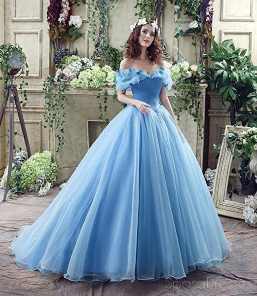 Popular Off Shoulder Blue A line Long Evening Prom Dresses, 17523