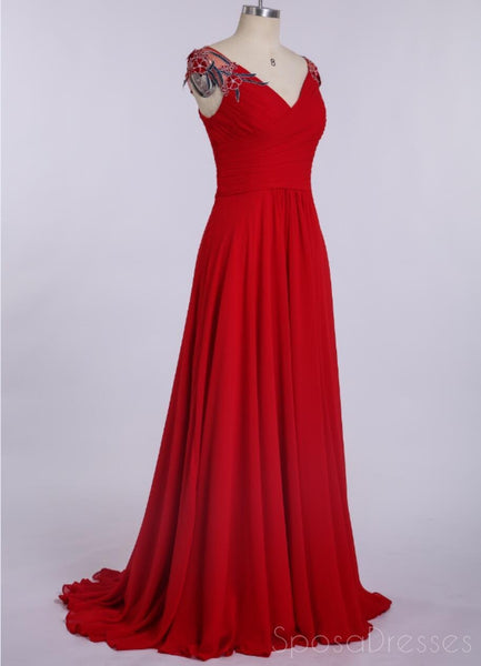Simple V Neck Chiffon Red Cheap Long Evening Prom Dresses,  Custom Sweet16 Dresses, 18402